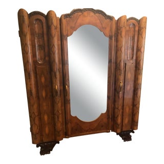 Art Nouveau Italian Olive Wood Armoire For Sale