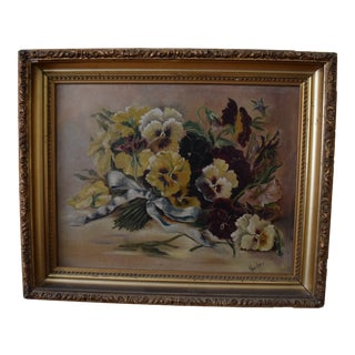 Late 19th Century Antique Heinrich Harder Pansies Oil on Canvas Painting For Sale