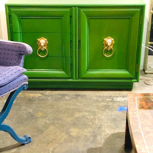 Brilliantly bold, Gorgeous green stain on a vintage case piece. I added the brass lions head door knockers to pop against...