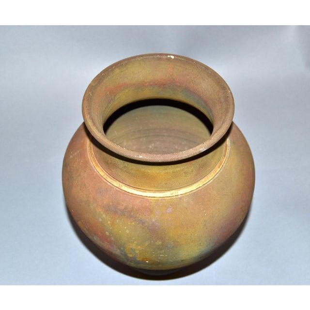 Brown Signed Mid-Century Modern Brown, Blue & Gold American Raku Vase, Vessel, Urn For Sale - Image 8 of 13