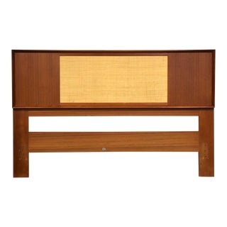 Danish Teak Reversable Cane Queen Headboard by Falster For Sale