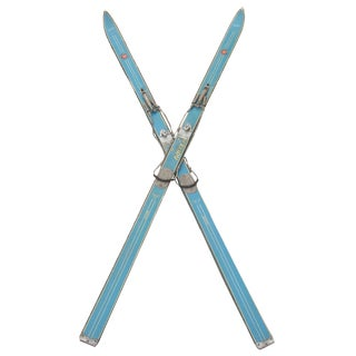 1950's Italian Turquoise Cortina Snow Skis, Pair For Sale