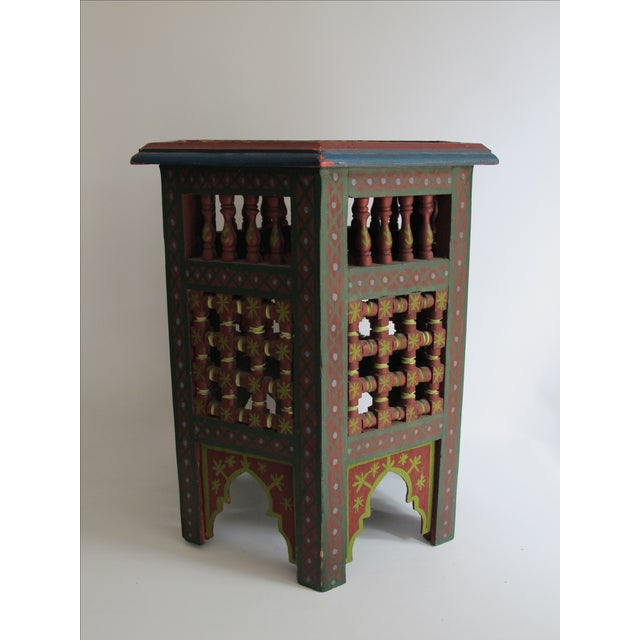 Moroccan Green & Red Carved Wood Side Table For Sale - Image 5 of 9