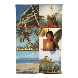 Vintage Hawaiian Airlines Travel Poster New Zealand to Hawaiian Islands by Clark and Mathewson For Sale