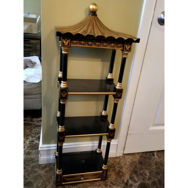 Last Call Black & Gold Asian Shelving Unit For Sale - Image 9 of 9
