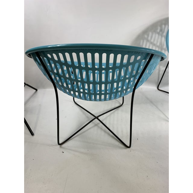 Blue Mid Century Howard Johnson Hotel Blue Solar Lounge Chairs- a Pair For Sale - Image 8 of 9