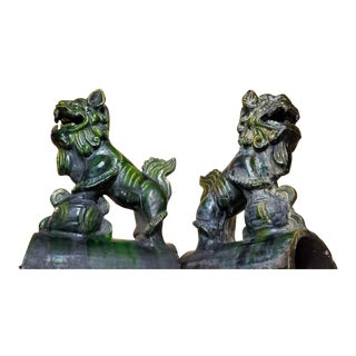 Antique Early Qing Dynasty Foo Dog Architectural Roof Tiles - a Pair For Sale