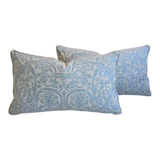 "26"" X 16"" Custom Tailored Italian Fortuny Uccelli Feather/Down Pillows - a Pair For Sale"