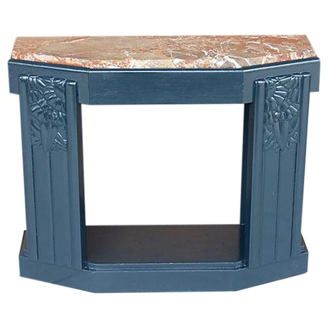Art Deco Painted Wood Console with Marble Top - Image 1 of 8