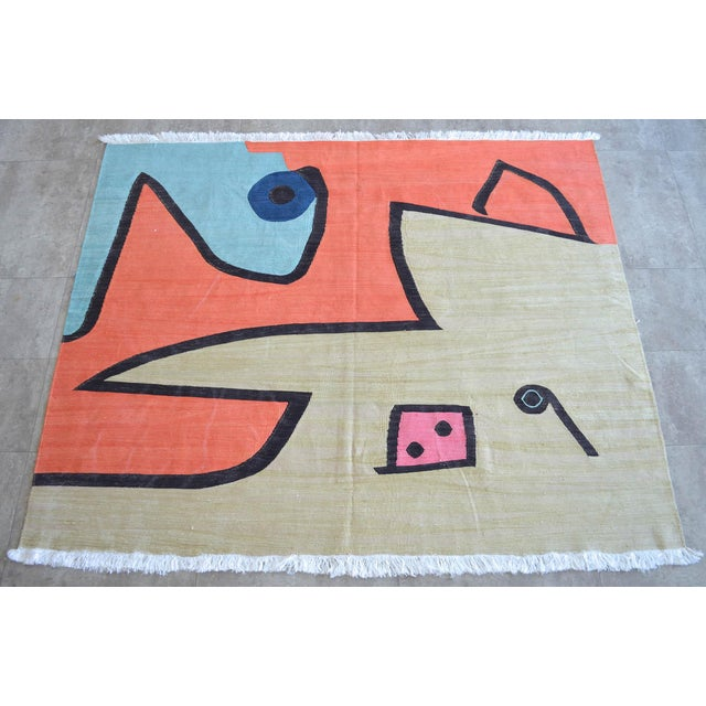 An unique handmade Kilim rug. This one of a kind rug produced only one piece in about 30 days by the our weavers. We used...