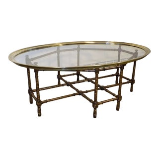 1980s Hollywood Regency Baker Furniture Faux Bamboo Coffee Table For Sale