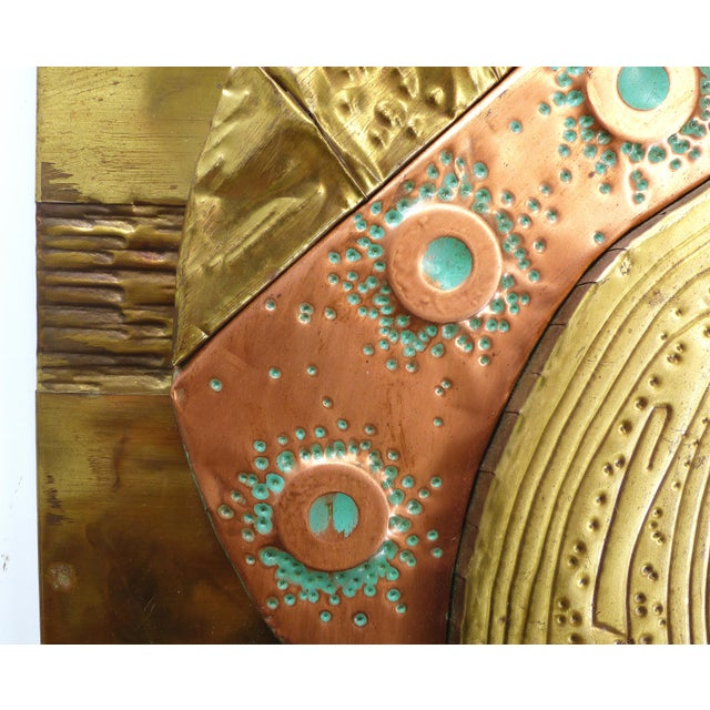Mixed Metals Sculptural Brutalist Wall Plaque For Sale - Image 4 of 10
