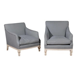 "Pair of French 19th Century ""His & Hers"" Club Chairs with Blue Grey Upholstery For Sale"