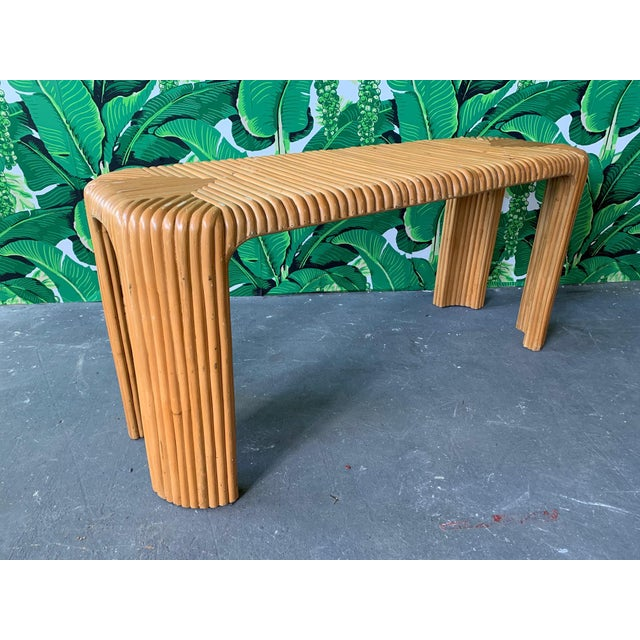 Split Reed Bamboo Console Table For Sale - Image 10 of 10