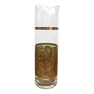 Vintage Hollywood Regency Culver Green & Gold Martini Cocktail Decanter For Sale