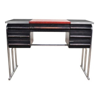 Art Deco Machine Age International Style Chrome & Black Desk Gilbert Rohde Attribution For Sale