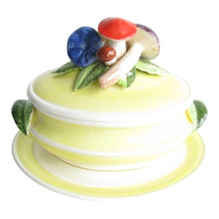 1970s Ceramic Mushroom Soup Tureen With Underplate For Sale
