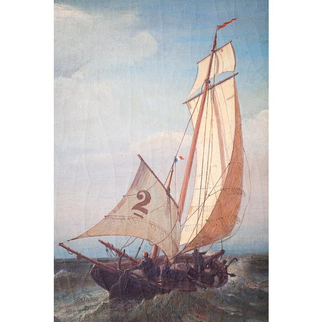 """""""Regatta on a Choppy Sea"""" Oil Painting on Canvas by Julian O. Davidson, Dated 1877 For Sale - Image 9 of 13"""