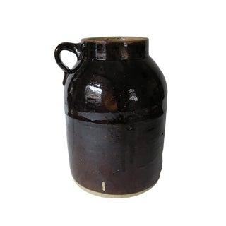 Antique Large Brown Glazed Crock Stoneware Jug With Handle For Sale