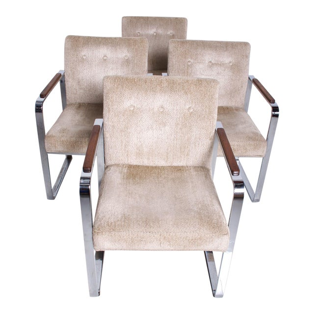 Mid Century Modern Milo Baughman for Thayer Coggin Chrome Dining Chairs-Set of 4 For Sale