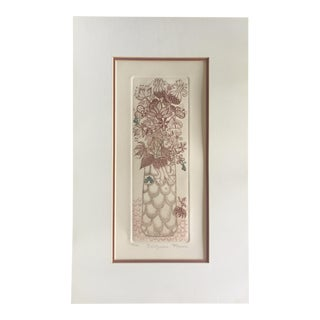 """""""Bellflowers"""" Floral Etching For Sale"""