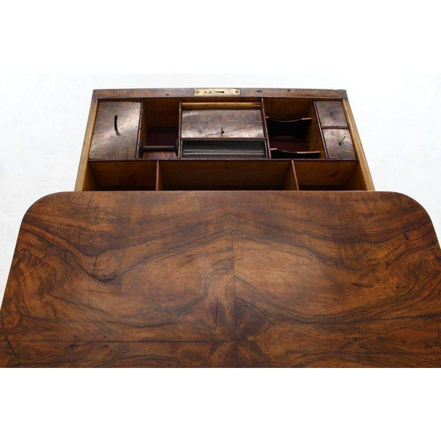 19th Century Biedermeier Burl Walnut One Drawer Sewing Stand Table For Sale In New York - Image 6 of 13