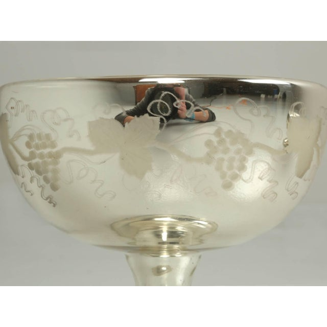 Traditional Vintage Mercury Glass Compote with Etched Grapes For Sale - Image 3 of 10