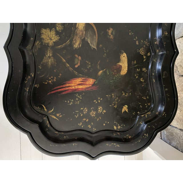 English Tray Top Table With Hand Painted Parrots For Sale - Image 11 of 13