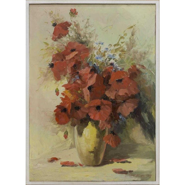 Canvas 1960s Vintage Still Life With Poppies Oil Painting For Sale - Image 7 of 7