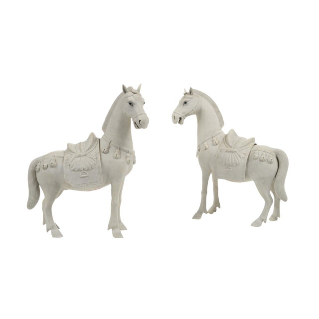 Rare Chinese Bisque Porcelain Horse Figurines - 2 For Sale