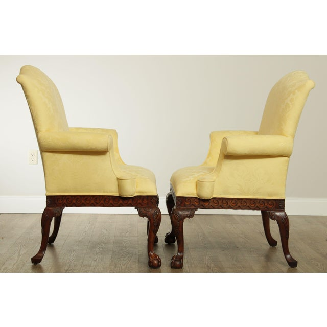 Ardsley Hall Fine Chippendale Style Ball & Claw Mahogany Pair Library Armchairs For Sale In Philadelphia - Image 6 of 13