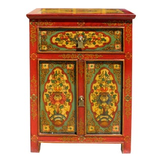 Orange Teal Green Tibetan Style Floral End Table Nightstand For Sale