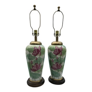 20th Century Chinoiserie Frederick Cooper Lotus Flower Lamps - a Pair For Sale