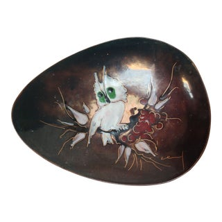 Mid-Century Dutch Modern Hand-Painted Enamel on Copper 'Owl' Dish For Sale