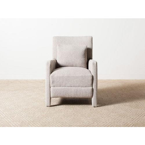 Alois Manual recliner upholstered in Misanga Brownstone 65% natural wool, 35% cotton. Fully extends to 65.00. MicroSeal...