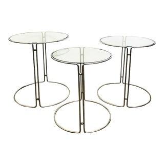 Set of 3 Vintage Circular Chrome Nesting Tables For Sale