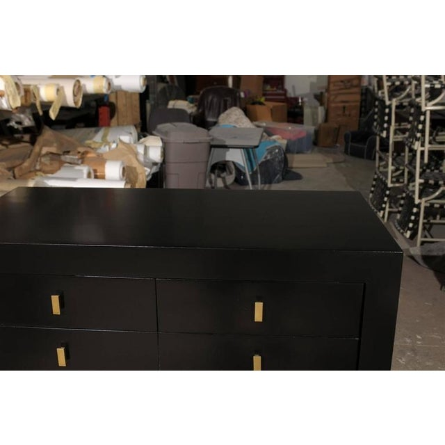 1950s Restored Modern Mahogany Commode by Albert of Shelbyville in Black Lacquer For Sale - Image 5 of 10