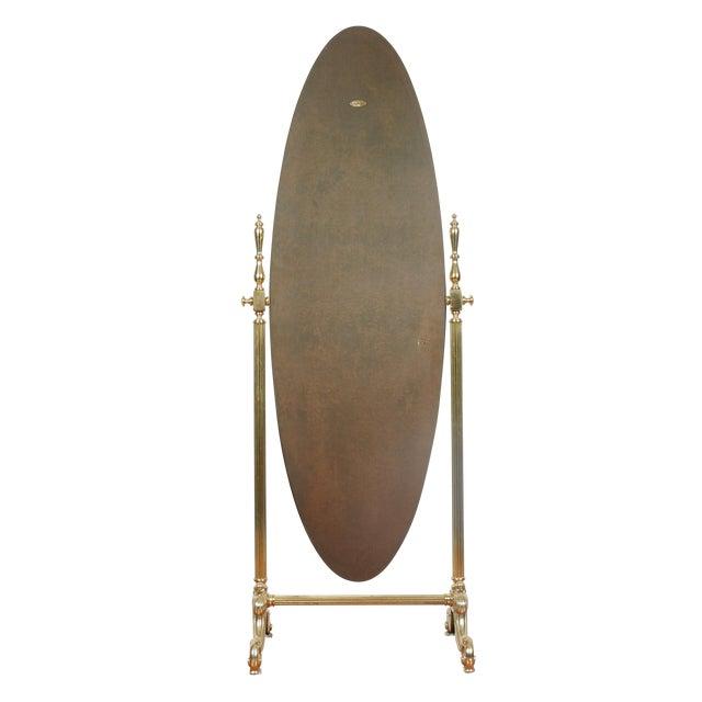 Gold Brass Vintage Floor Mirror - Image 1 of 11