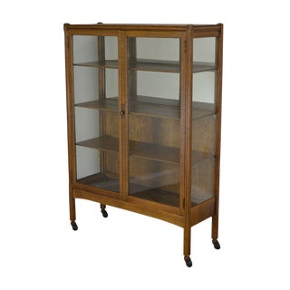 Art Nouveau Antique Golden Oak Bookcase China Cabinet For Sale