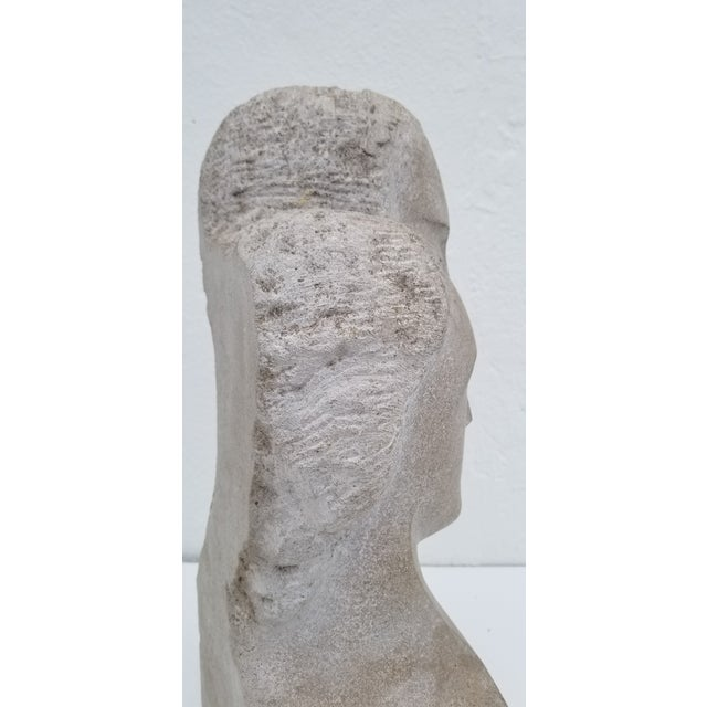 "Stone 1960s Vintage ""His and Hers "" Carved Stone Bust Sculpture For Sale - Image 7 of 12"