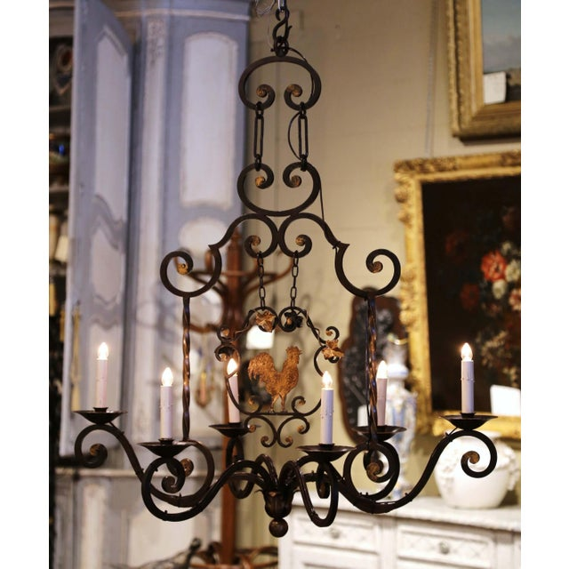 Early 20th Century French Six-Light Iron Chandelier With Center Rooster For Sale - Image 4 of 13