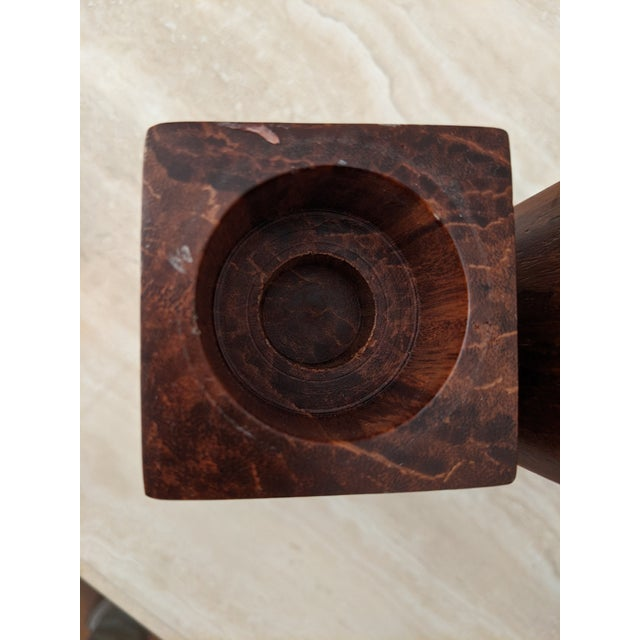 Brown Organic Modernist Minimalist Wood Block Tealights, a Pair For Sale - Image 8 of 10