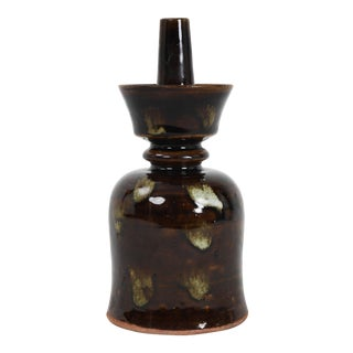 Vintage Dark Glazed Candle Holder For Sale