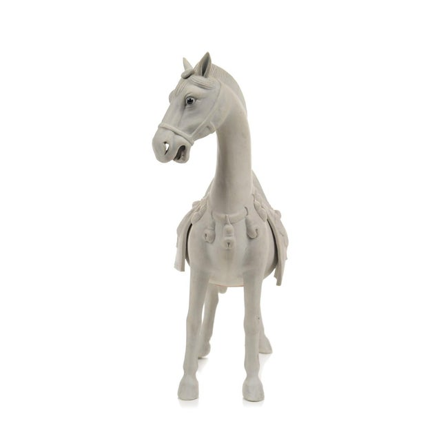 Rare Chinese Bisque Porcelain Horse Figurines - 2 For Sale In Los Angeles - Image 6 of 9