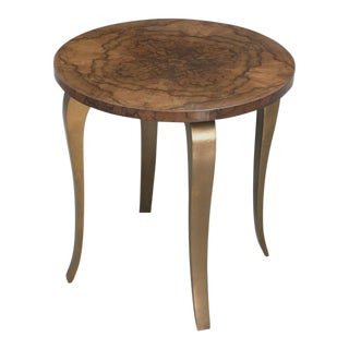 French 1930-40s Burl Walnut Top Bronze End Table For Sale