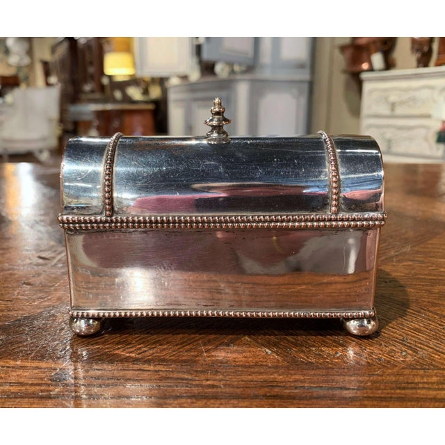 19th Century French Silver Plated Over Copper Casket Inkwell For Sale - Image 12 of 12