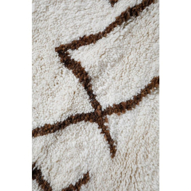 """Symbol"" White Moroccan Berber Rug With Brown Tribal Symbols - 8'7"" X 5'2"" For Sale - Image 11 of 13"