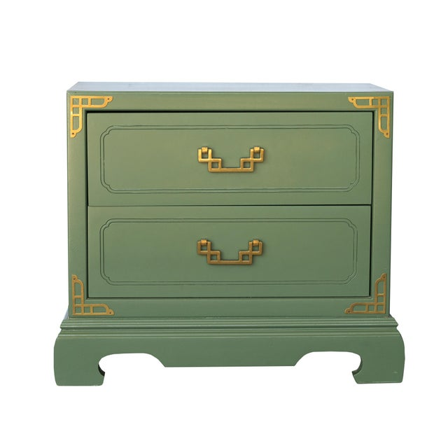 Chinoiserie Campaign Green Nightstands - Pair - Image 3 of 4