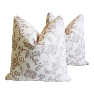 "Designer Lavender-Mauve English Floral Feather/Down Pillows 26"" Square - Pair For Sale"