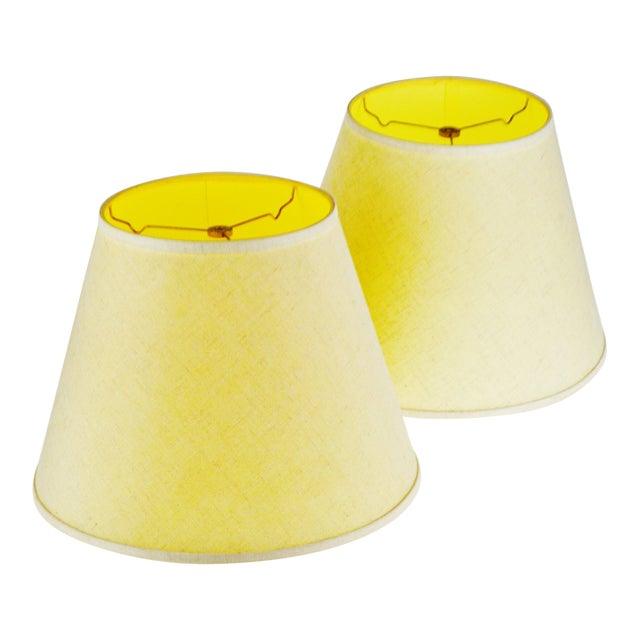 Vintage New Brunswick Linen Empire Shape Lamp Shades - a Pair For Sale
